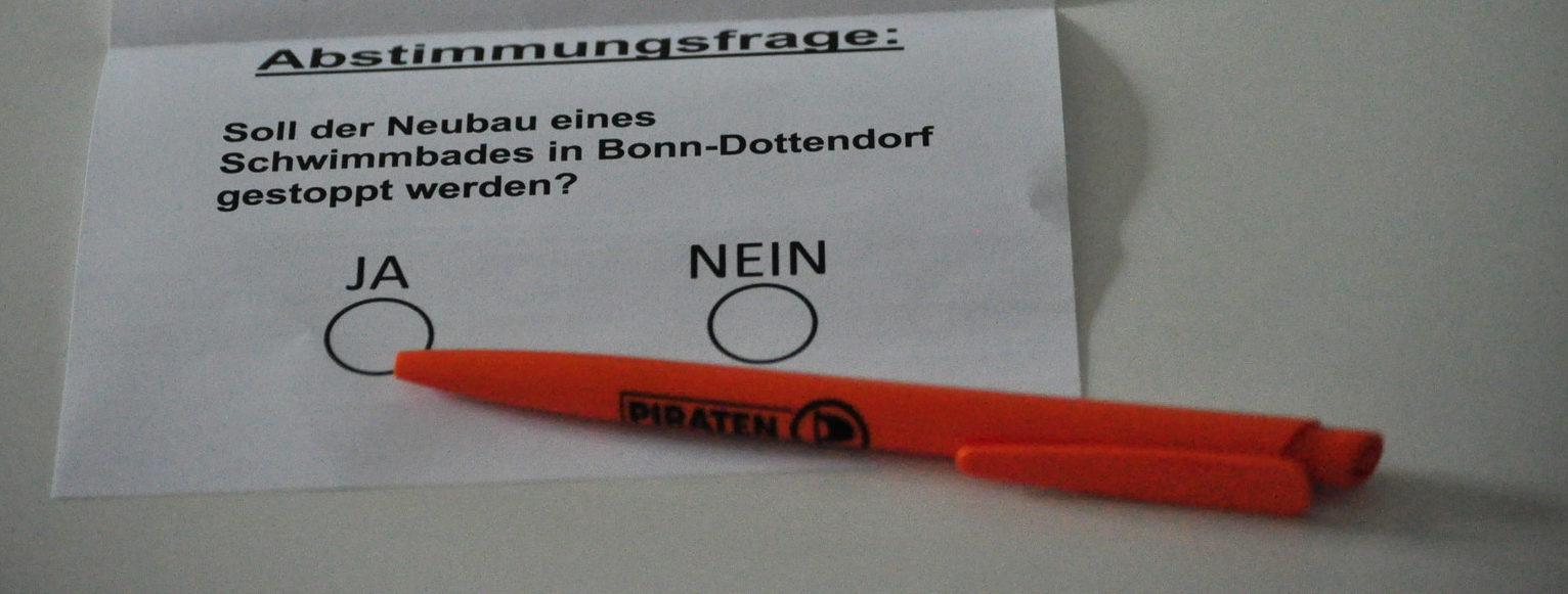 Stimmzettel Bürgerentscheid zum Wasserlandbad