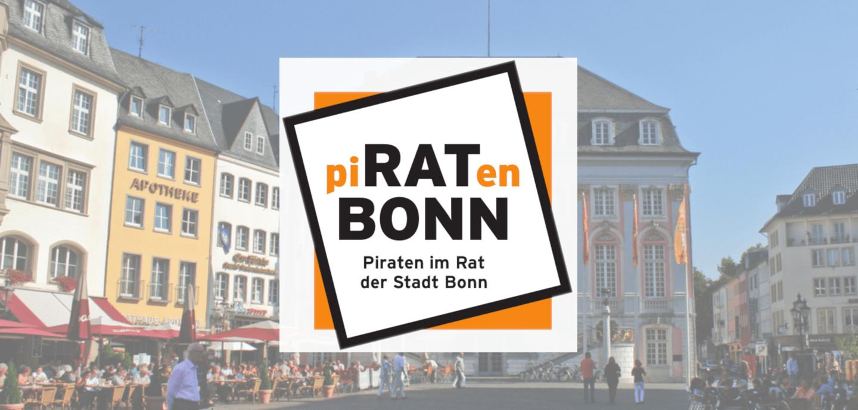 Logo der Piratengruppe mit dem Alten Rathaus im Hintergrund