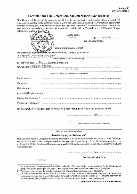 Formblatt für eine Unterstützungsunterschrift