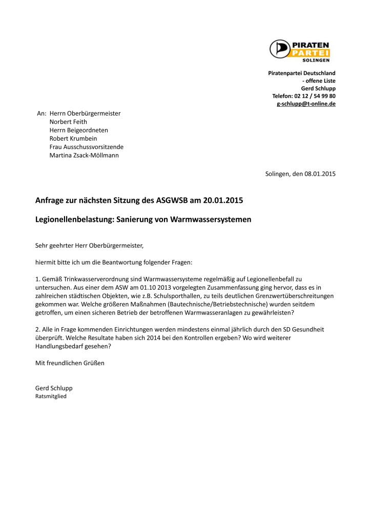 Anfrage_ASGWSB_Januar2015_Trinkwasseruntersuchungen