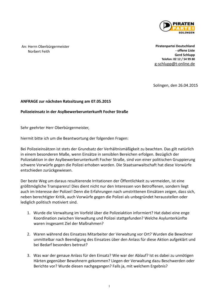 Anfrage - Polizeieinsatz in der Asylbewerberunterkunft Focher Straße-1